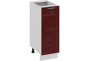Шкаф напольный с одной дверью «Весна» (Белый/Бордо глянец)