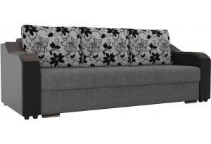 Прямой диван Монако Серый/черный (Рогожка/экокожа/флок на рогожке)
