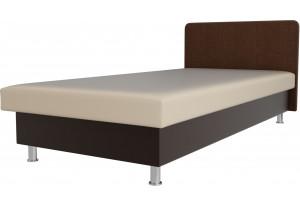 Кровать Мальта бежевый/коричневый (Экокожа)