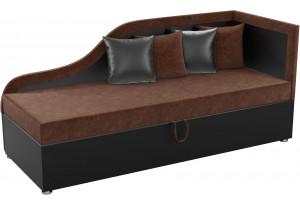 Детский диван Дюна коричневый/черный (Микровельвет)
