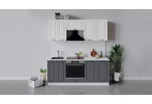 Кухонный гарнитур «Лина» длиной 200 см со шкафом НБ (Белый/Белый/Графит)