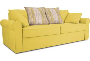 Диван «Шерри» Neo 08 (рогожка) желтый, подушки Tiffani green oazis (шинил) зеленый оазис