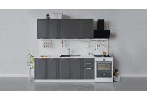 Кухонный гарнитур «Ольга» длиной 200 см (Белый/Графит)