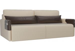 Прямой диван Армада бежевый/коричневый (Экокожа)