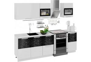 Кухонный гарнитур длиной - 240 см Фэнтези (Белый универс)/(Лайнс)