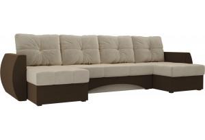 П-образный диван Сатурн бежевый/коричневый (Микровельвет)