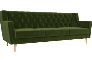 Прямой диван Брайтон 3 Люкс Зеленый (Микровельвет)