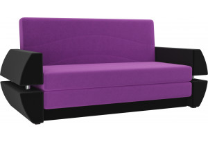 Диван прямой Атлант Т мини Фиолетовый/Черный (Микровельвет)