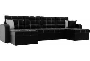 П-образный диван Ливерпуль Черный (Экокожа)