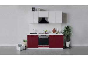 Кухонный гарнитур «Весна» длиной 200 см со шкафом НБ (Белый/Белый глянец/Бордо глянец)