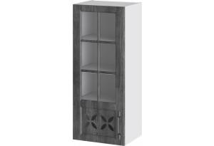 Шкаф навесной cо стеклом и декором (левый) (ПРОВАНС (Белый глянец/Санторини темный))