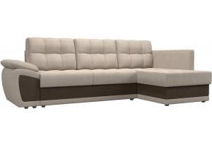 Угловой диван Нэстор прайм бежевый/коричневый (Рогожка)