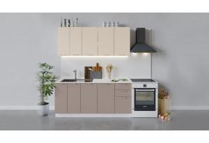 Кухонный гарнитур «Весна» длиной 180 см (Белый/Ваниль глянец/Кофе с молоком)