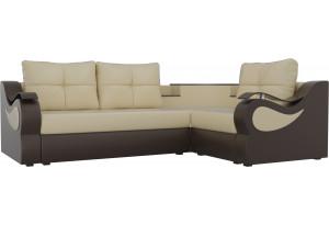 Угловой диван Митчелл бежевый/коричневый (Экокожа)