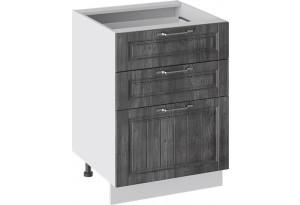 Шкаф напольный с 3-мя ящиками (ПРОВАНС (Белый глянец/Санторини темный))