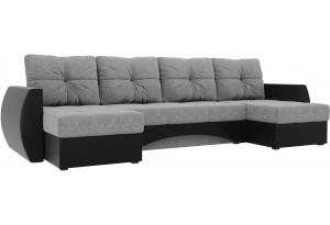 П-образный диван Сатурн Серый /черный (Рогожка/Экокожа)
