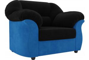 Кресло Карнелла черный/голубой (Велюр)
