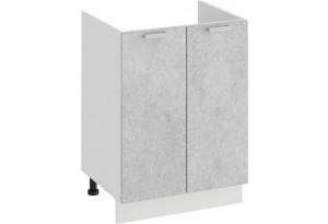 Шкаф напольный с двумя дверями (под накладную мойку) «Гранита» (Белый/Бетон снежный)