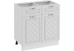 Шкаф напольный с двумя ящиками и двумя дверями «Бьянка» (Белый/Дуб белый)