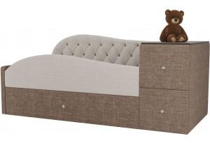 Детская кровать Джуниор бежевый/коричневый (Рогожка)