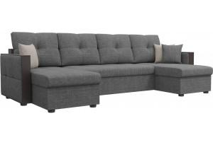 П-образный диван Валенсия Серый (Рогожка)