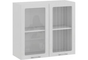 Шкаф навесной c двумя дверями со стеклом «Весна» (Белый/Белый глянец)