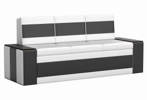 Кухонный прямой диван Лина Белый/Черный (Экокожа)