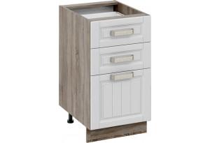Шкаф напольный с 3-мя ящиками (ПРОВАНС (Дуб сонома трюфель/Крем))