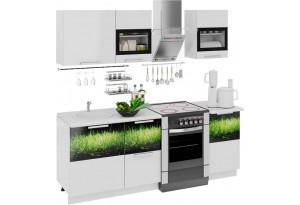 Кухонный гарнитур длиной - 210 см Фэнтези (Белый универс)/(Грасс)