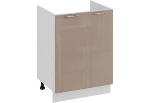 Шкаф напольный с двумя дверями (под накладную мойку) «Весна» (Белый/Кофе с молоком)