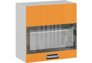 Шкаф навесной со стеклом БЬЮТИ (Оранж)