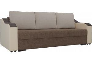 Прямой диван Монако Коричневый/Бежевый (Рогожка/Экокожа)