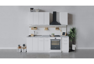 Кухонный гарнитур «Весна» длиной 160 см (Белый/Белый глянец)