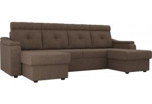 П-образный диван Джастин Коричневый (Рогожка)