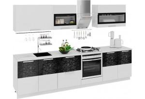 Кухонный гарнитур длиной - 300 см (со шкафом НБ) Фэнтези (Белый универс)/(Лайнс)