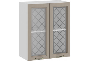 Шкаф навесной c двумя дверями со стеклом «Бьянка» (Белый/Дуб кофе)