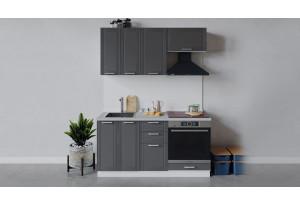 Кухонный гарнитур «Ольга» длиной 160 см со шкафом НБ (Белый/Графит)