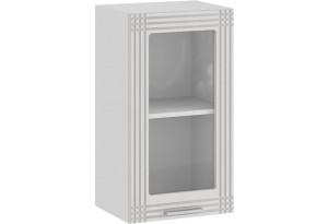 Шкаф навесной c одной дверью со стеклом «Ольга» (Белый/Белый)