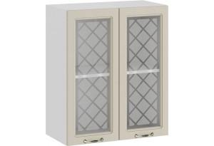 Шкаф навесной c двумя дверями со стеклом «Бьянка» (Белый/Дуб ваниль)