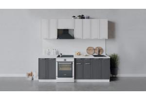 Кухонный гарнитур «Ольга» длиной 240 см (Белый/Белый/Графит)