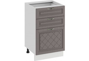 Шкаф напольный с тремя ящиками «Бьянка» (Белый/Дуб серый)