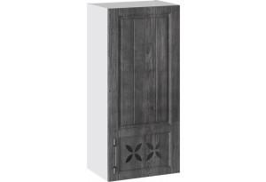 Шкаф навесной c декором (правый) (ПРОВАНС (Белый глянец/Санторини темный))