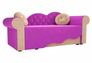 Детская кровать Тедди-2 фиолетовый/бежевый (Микровельвет)