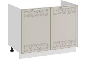 Шкаф напольный с двумя дверями (под накладную мойку) «Долорес» (Белый/Крем)