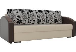 Прямой диван Монако slide бежевый/коричневый (Экокожа)