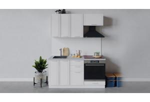 Кухонный гарнитур «Ольга» длиной 160 см со шкафом НБ (Белый/Белый)