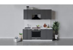 Кухонный гарнитур «Ольга» длиной 200 см со шкафом НБ (Белый/Графит)