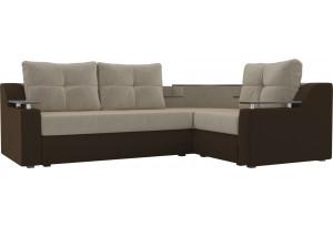 Угловой диван Тесей бежевый/коричневый (Микровельвет)