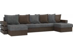 П-образный диван Венеция Серый/коричневый (Рогожка)