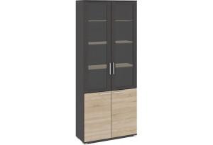 Шкаф для документов с 2-мя дверями со стеклом «Успех-2» Венге Цаво, Дуб Сонома